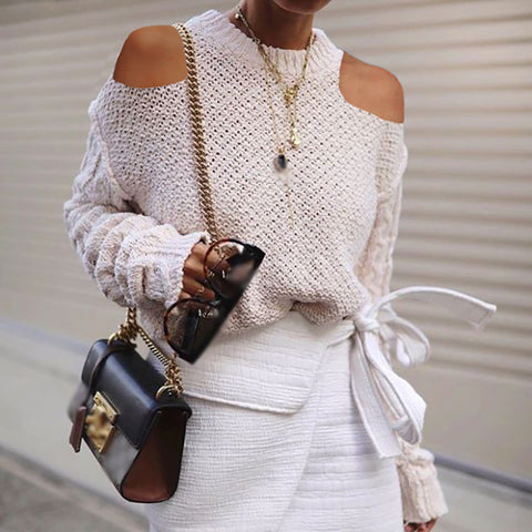 Fashion Off-Shoulder Solid Color Sweater