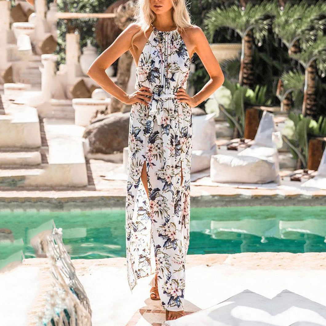 Sexy Floral Print Halter Neck Slit Maxi Dress