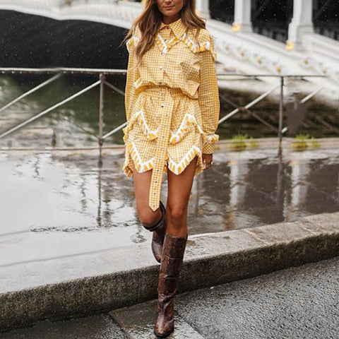 Casual Patchwork Lapel Long Sleeve Mini Dress