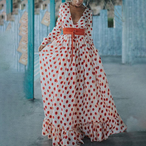 Bohemian Polka Dot V Neck Long Sleeve Vacation Maxi Dress