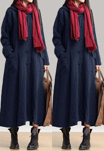 pure color Flax long   sleeve hooded Maxi dress