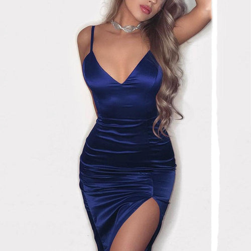 Spaghetti Strap  Slit  Plain  Sleeveless Bodycon Dresses