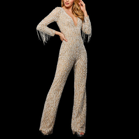 Fashion Solid Color V-neck Sequined Fringed Jumpsuit