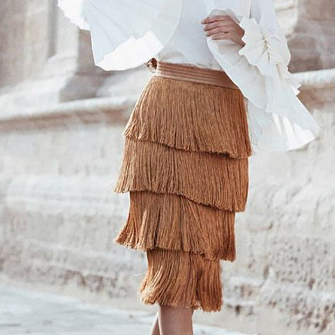 Fashion Solid Colour Tassel Tiered Casual Dress