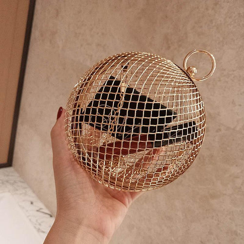 Fashion Alloy Hollow Out Ball Shape Hand Bag