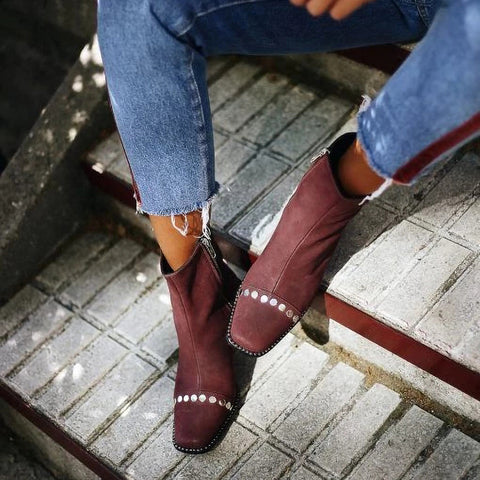 Casual Solid Color Rivet Square Head Boots