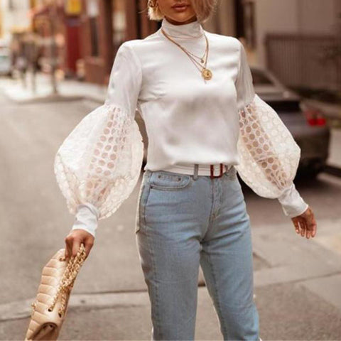 Fashion Bubble Sleeve High Collar Blouse