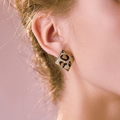 Fashionable Simple Square Leopard Earrings