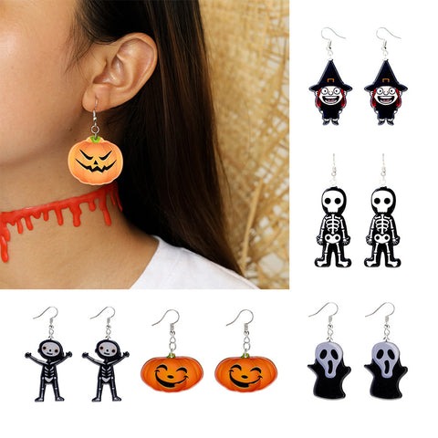 Fashion Halloween Funny Pumpkin Ghost Witch Earrings