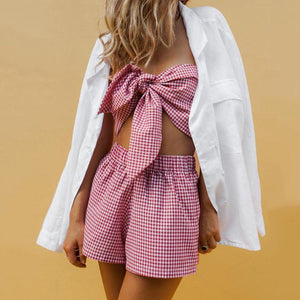 Wrapped Chest Shorts Linen Refreshing Suit