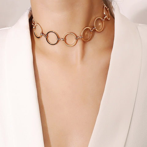 Fashion Geometric Copper Ring Necklace