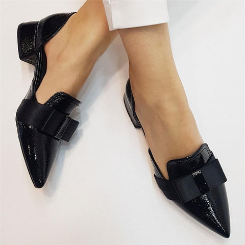 Simple Bow Pointed Flat   Shoes