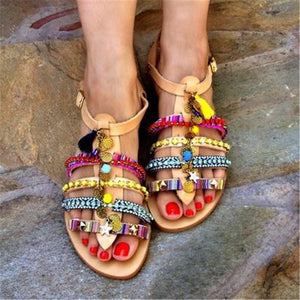 Fashion   bohemian color flat sandals