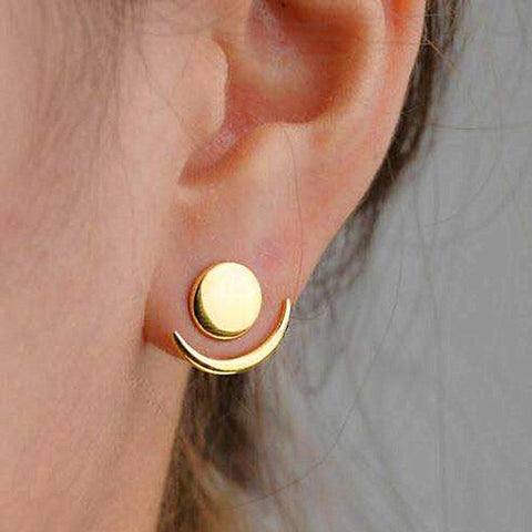 Fashion Simple Generous Metal Crescent Rear Insert Female Earrings Street Shooting Personality