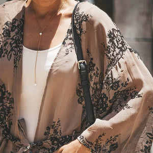 Floral Printed Long Flare Sleeve Pocket Long Cardigans