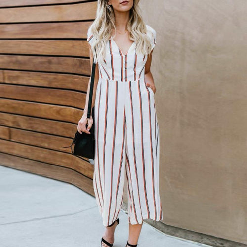 V Neck  Striped  Short Sleeve Jumpsuits