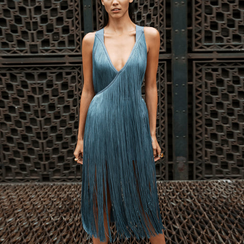 Elegance Sex V-Neck  Sleeveless Tassels Evening Dress