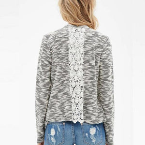 Knitted Patchwork Hollow Lace Irregular Cardigan