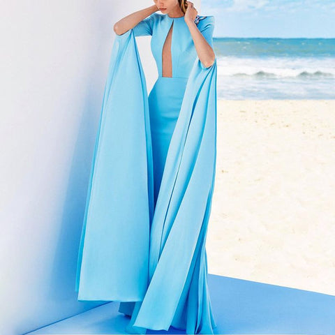 Elegant Temperament Solid Color Long Dress