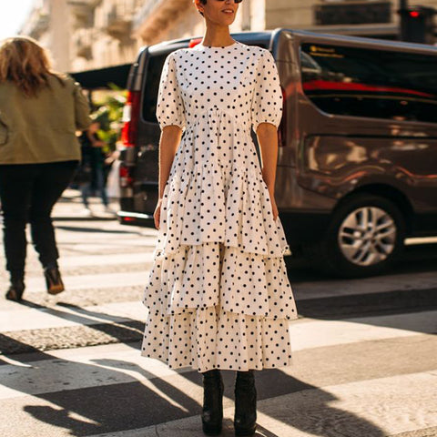 Fashion Polka Dot Ruffled Stitching Short Sleeve Dress
