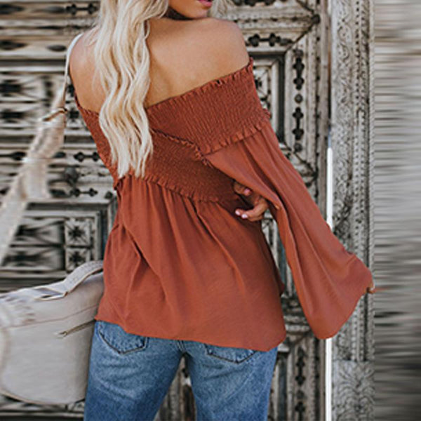 Elastic Off Shoulder Long Flare Sleeve Plain Pleated Blouse