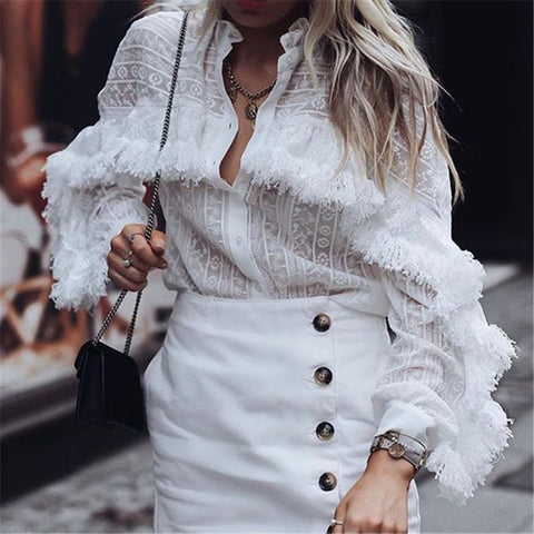 Fashion Stand Collar Floral Pattern Fringed Blouses