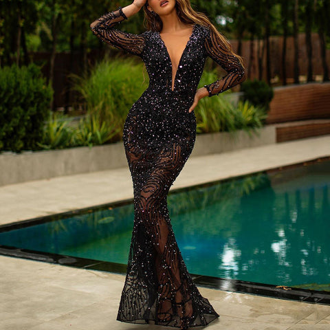 Sexy Deep V-Neck Long Sleeve Paillette Evening Dress