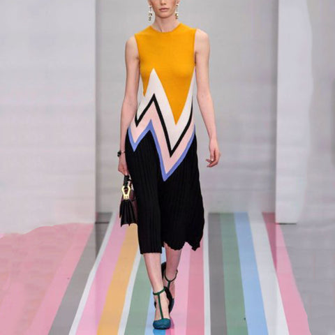 Fashion Colorblock Irregular Striped Dress
