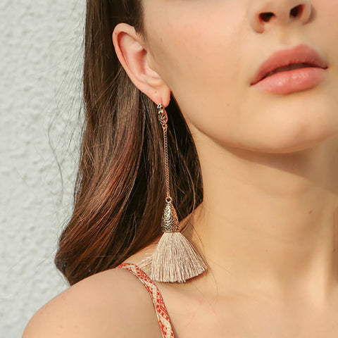 Ethnic Women Tassel Long Earrings