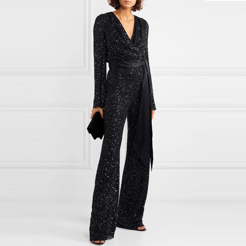 Fashion Temperament V-neck Long-sleeved Sequined Jumpsuit
