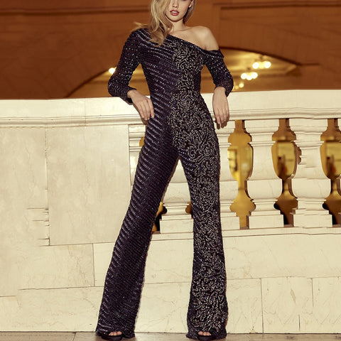 Fashion Jacquard Off-the-shoulder Sequined Jumpsuit