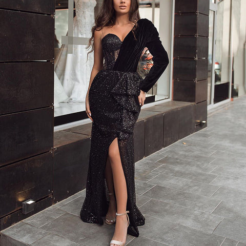 Fashion Open Shoulder High Forked Irregular Evening Dress