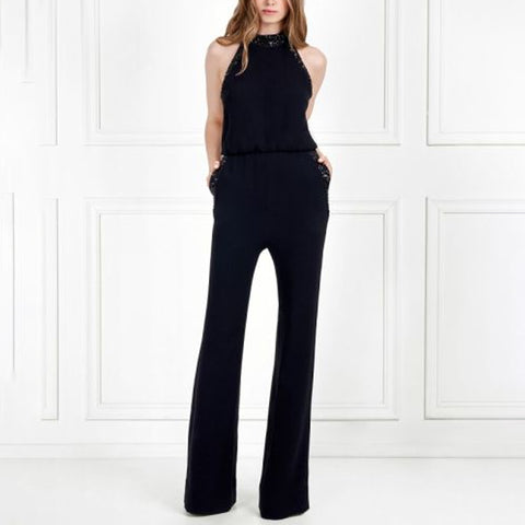 Fashion Solid Color Round Collar Jumpsuit
