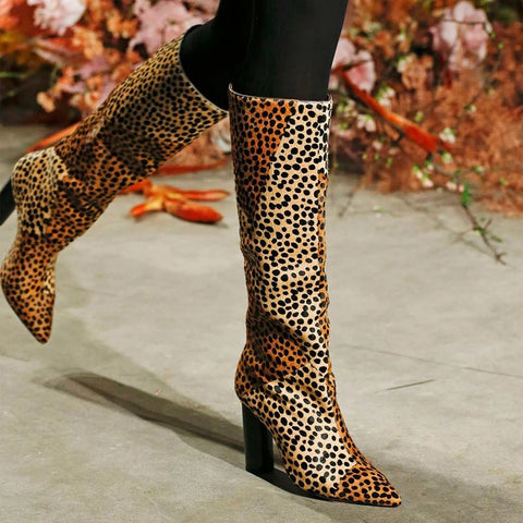 Fashion Leopard Thick with Long Boots