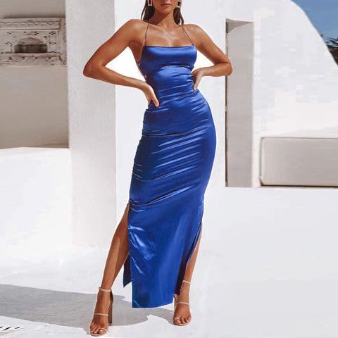 Sexy Off-shoulder Slit Pure Colour Maxi Dress