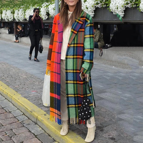 Casual Lapel Plaid Spliced Tassel Overcoat