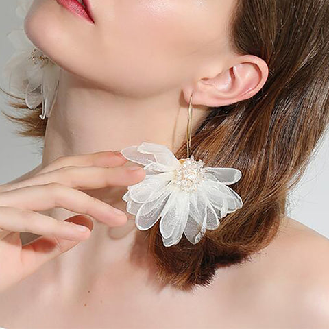 Vacation Style Elegant Charming Large Petal Flower Earrings
