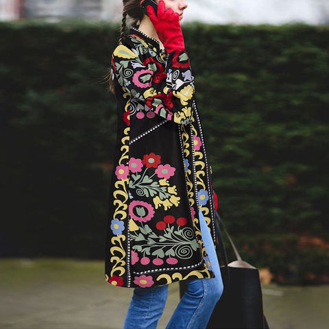 Vintage ethnic style fashion slim printed long sleeve cardigan