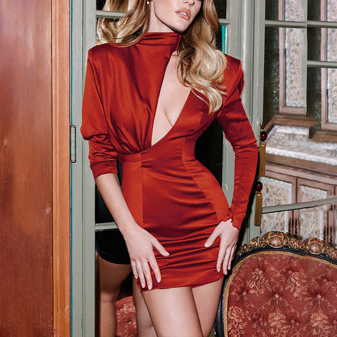 Sexy Pure Colour Long Sleeve Bodycon Dress