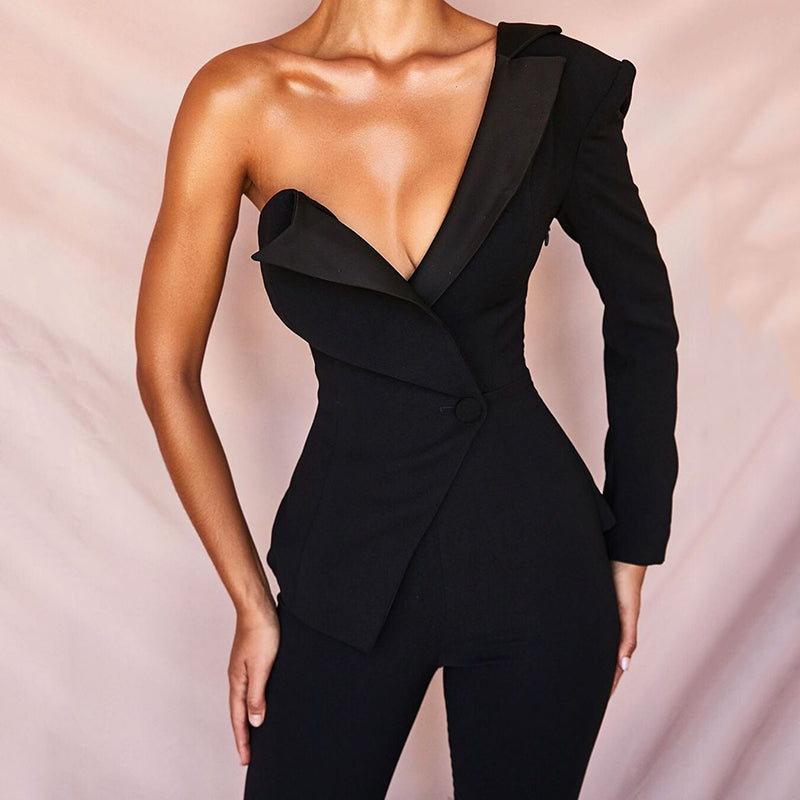 Fashion Sexy Slim Asymmetrical Jumpsuit
