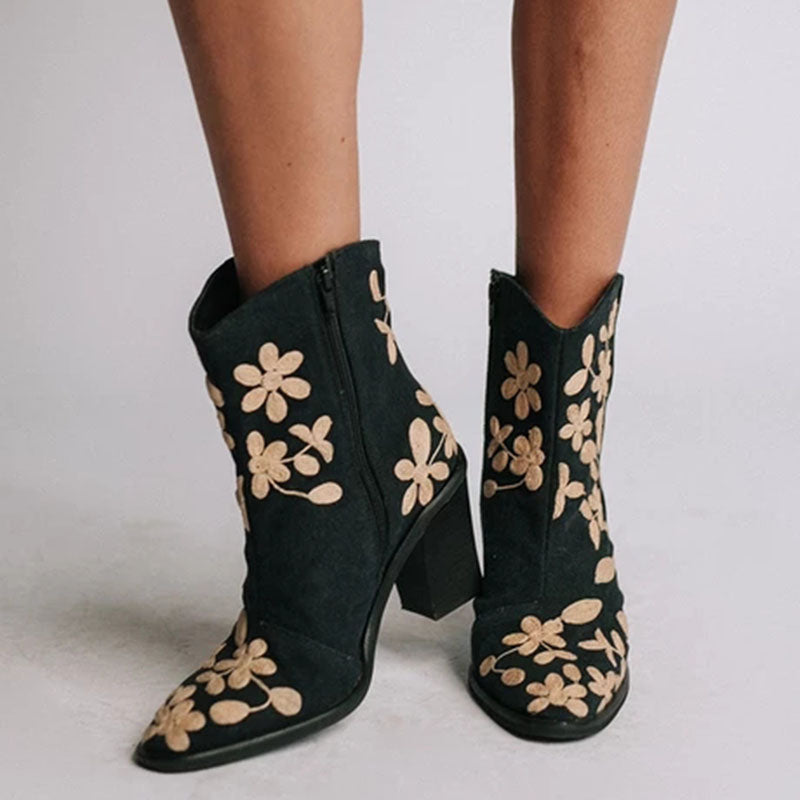 Casual Embroidered Side Zipper Boots