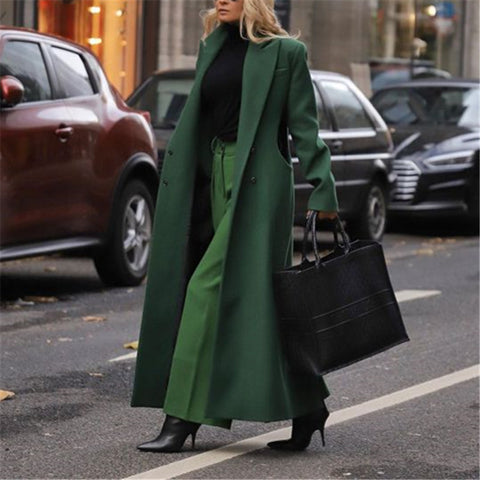 Fashion Retro Fold Collar Solid Color Long Coat