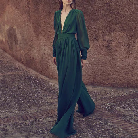 Elegant Deep V Long Sleeve Jumpsuit