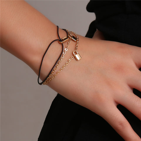 Retro Creative Ladies Lock Pendant Multi-layer Bracelet