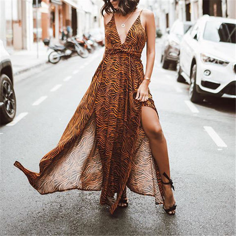 Sexy Open Back Printed Sling Dress