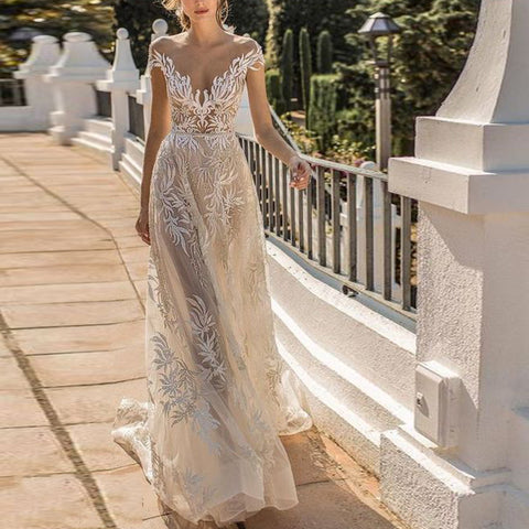 Ms Sexy Deep V See-through White Long Evening Gown Dress