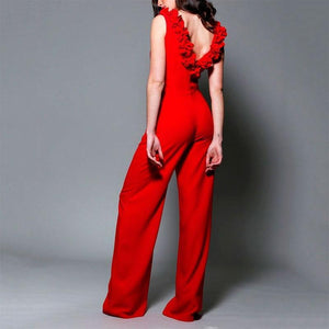 Elegant Sleeveless Bare Back Pleated Pure Colour Jumpsuit