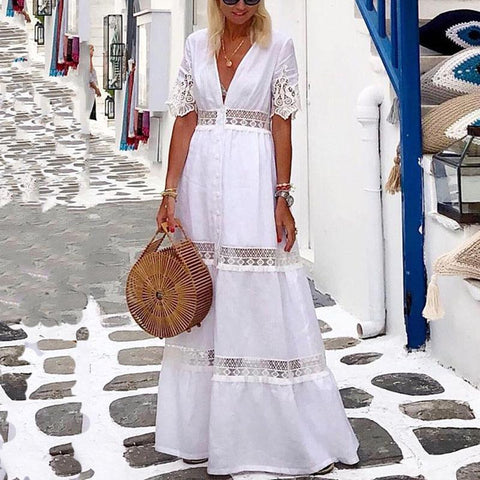 Elegant V Neck  Pure Colour Lace Splicing Maxi Dress