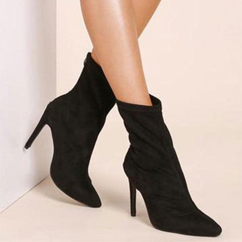 Pointed Sexy   High Heel Suede Booties