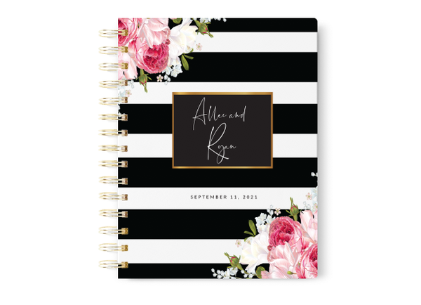 Black Stripe Floral Wedding Planner
